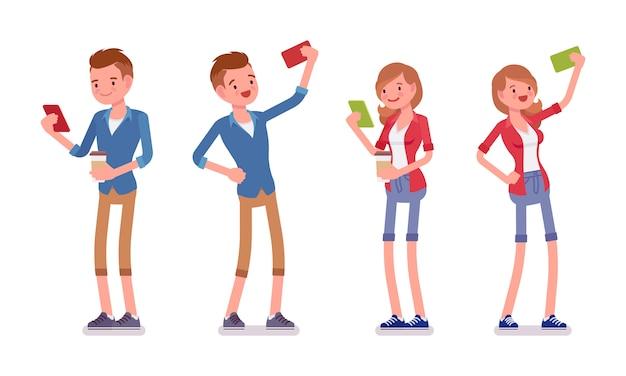 Conjunto de masculino e feminino milenar, fazendo selfie Vetor Premium