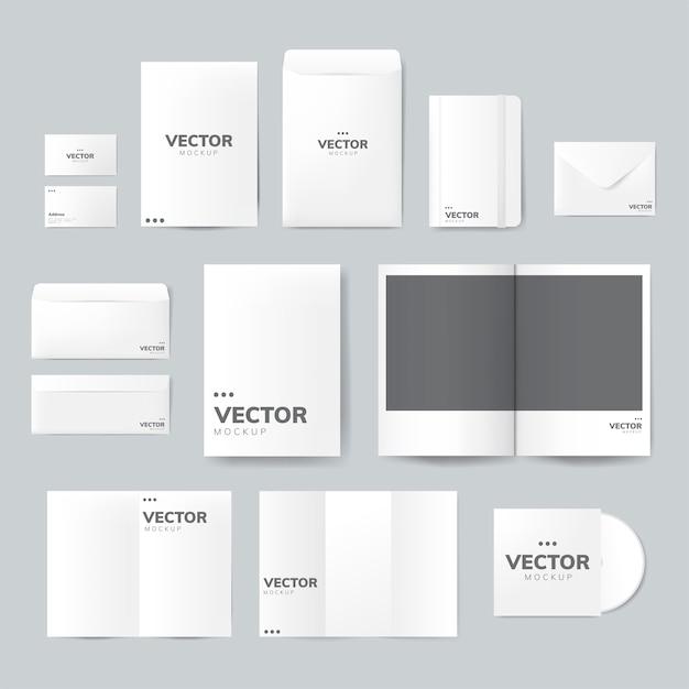 Conjunto de material de impressão desenhos vetor de maquete Vetor grátis