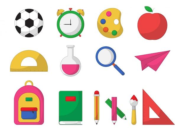 Conjunto de material escolar. itens de educação isolados Vetor Premium