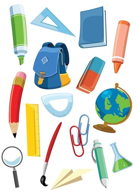 Conjunto de material escolar Vetor Premium