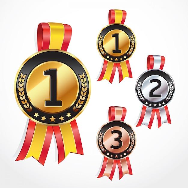 Conjunto de medalhas com fita. ilustração do vetor Vetor Premium