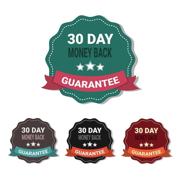 Conjunto de medalhas de dinheiro de volta em 30 dias garantia adesivos coleção isolada Vetor Premium