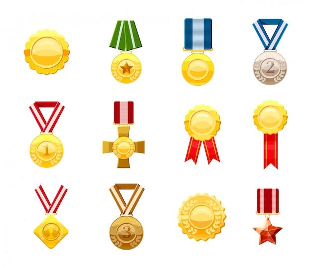 Conjunto de medalhas de ouro. conjunto de desenhos animados de medalha de ouro Vetor Premium