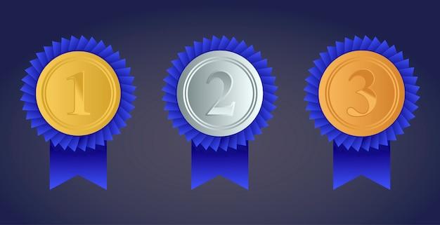 Conjunto de medalhas de ouro, prata e bronze prêmio isolado em fundo transparente. ilustração vetorial Vetor Premium