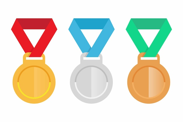 Conjunto de medalhas de ouro, prata e bronze Vetor Premium
