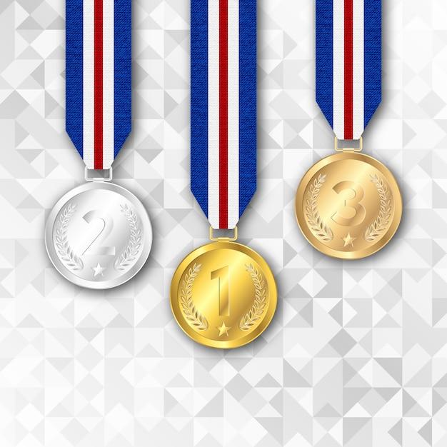 Conjunto de medalhas de ouro prata e bronze. Vetor Premium