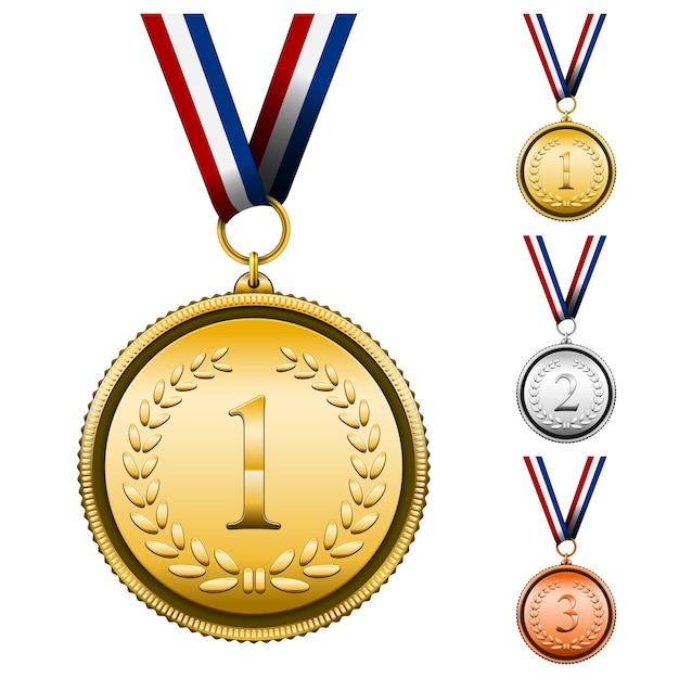 Conjunto de medalhas de premiação Vetor grátis