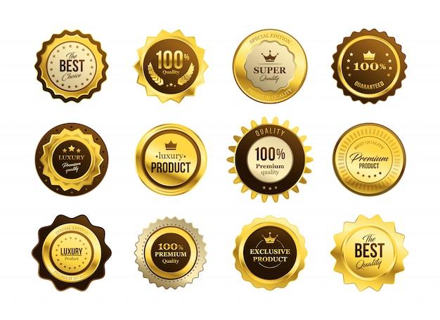 Conjunto de medalhas de qualidade premium Vetor grátis