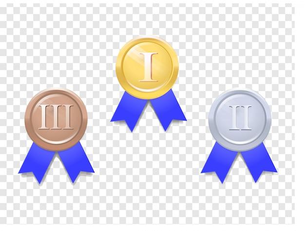 Conjunto de medalhas de vetor Vetor Premium