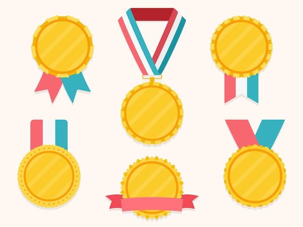 Conjunto de medalhas diferentes com fitas Vetor Premium
