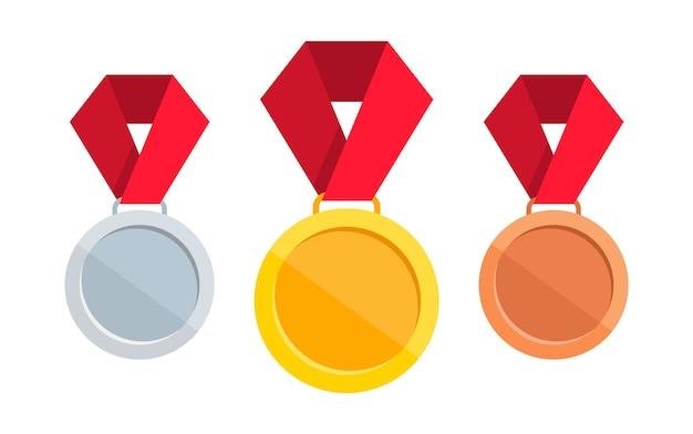 Conjunto de medalhas. medalha de ouro, prata e bronze com fita vermelha. Vetor Premium