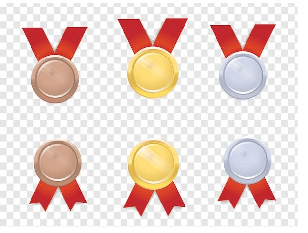 Conjunto de medalhas realista vector Vetor Premium