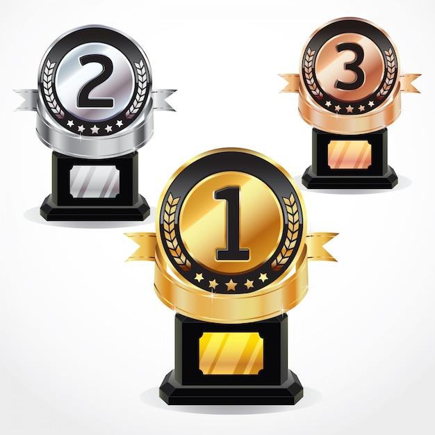 Conjunto de medalhas. Vetor Premium