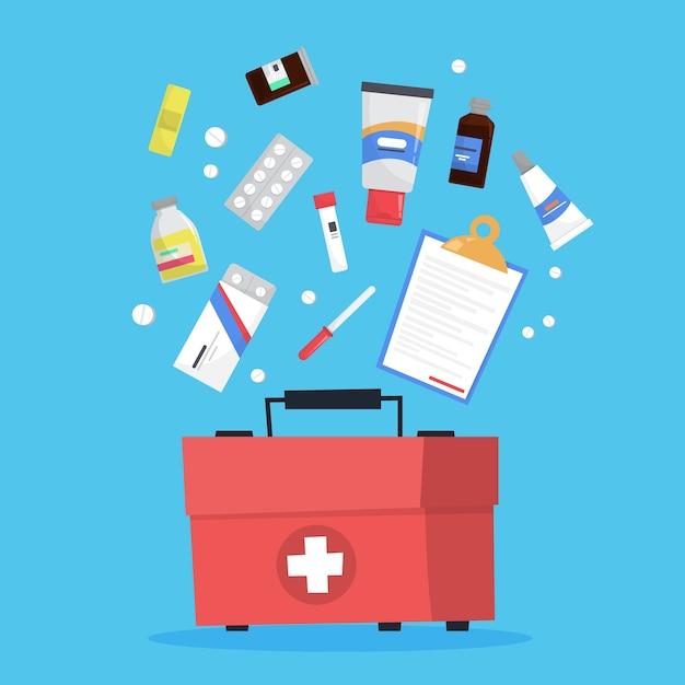 Conjunto de medicação. recolha de medicamento de farmácia em frasco Vetor Premium