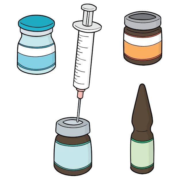 Conjunto de medicamento de injeção Vetor Premium