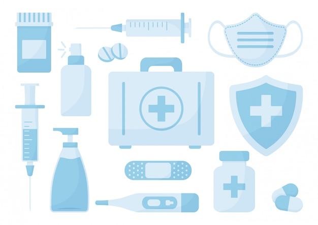 Conjunto de medicina desinfetante, máscara médica, spray antibacteriano, sabão, seringa, kit de primeiros socorros, pílulas, curativo, termômetro, sinal de seguro médico. Vetor Premium
