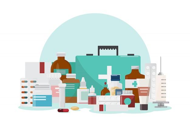 Conjunto de medicina Vetor Premium