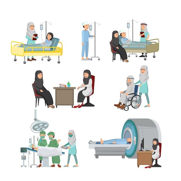 Conjunto de médico árabe e paciente ilustração tratamento médico no hospital Vetor Premium
