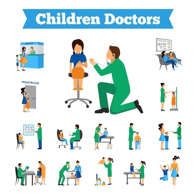Conjunto de médico de crianças Vetor grátis