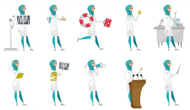 Conjunto de médico muçulmano Vetor Premium