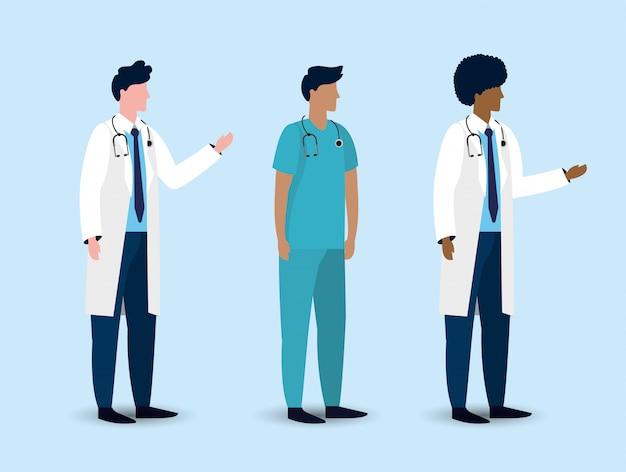 Conjunto de médicos homens profissionais com estetoscópio Vetor Premium