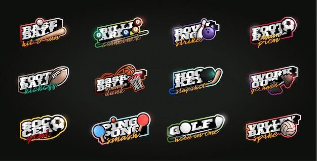 Conjunto de mega esporte logotipo. esporte profissional moderno tipografia em estilo retro Vetor Premium