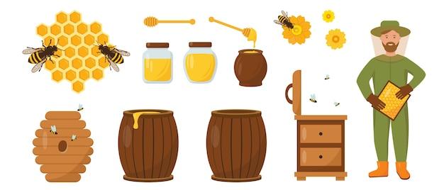 Conjunto de mel e apicultura. apicultor com favos de mel, colmeia, abelhas e mel. ilustração dos ícones no fundo branco. Vetor Premium