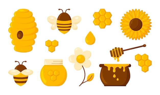 Conjunto de mel, favo de mel, abelha, colmeia, hexágono, frasco, pote, gota, torrada de xarope e flores. doces Vetor Premium
