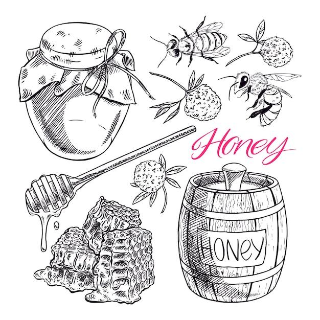 Conjunto de mel fofo. potes de mel, abelhas, favos de mel. ilustração desenhada à mão Vetor Premium