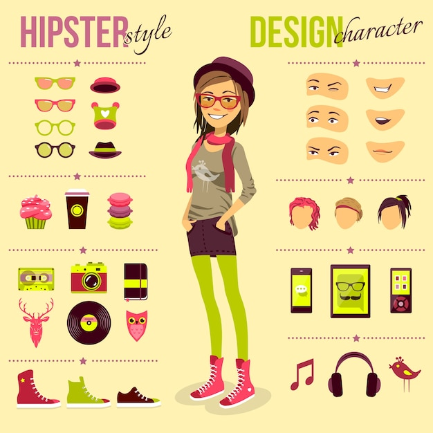 Conjunto de menina de hipster Vetor grátis