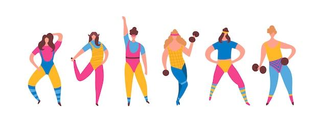 Conjunto de menina de mulher de anos 80 em traje de aeróbica fazendo formação de treino Vetor grátis
