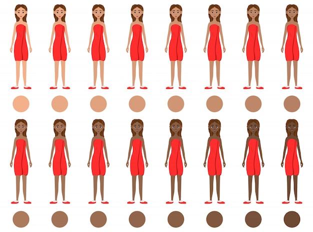 Conjunto de meninas com diferentes cores de pele, do claro ao escuro Vetor Premium