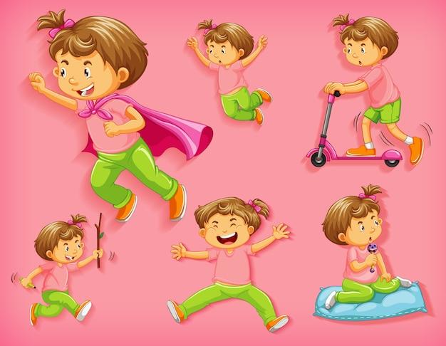 Conjunto de menino bonito com diferentes posições isoladas Vetor grátis