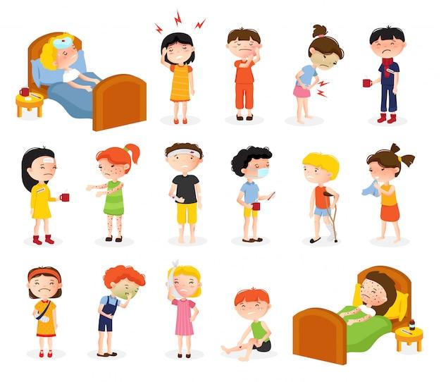 Conjunto de menino e menina doente dos desenhos animados de caracteres de adolescente de estilo isolado doodle sofrendo de ilustração em vetor várias doenças Vetor grátis