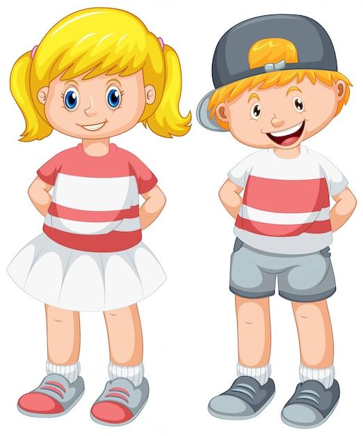 Conjunto de menino e uma menina fofos Vetor grátis