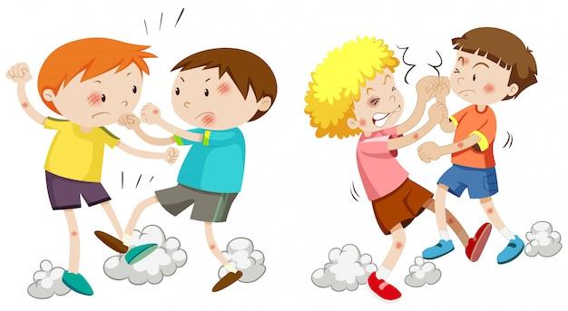 Conjunto de meninos brigando Vetor grátis