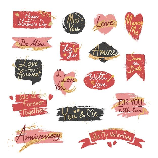 Conjunto de mensagem doce romântico dos namorados Vetor grátis