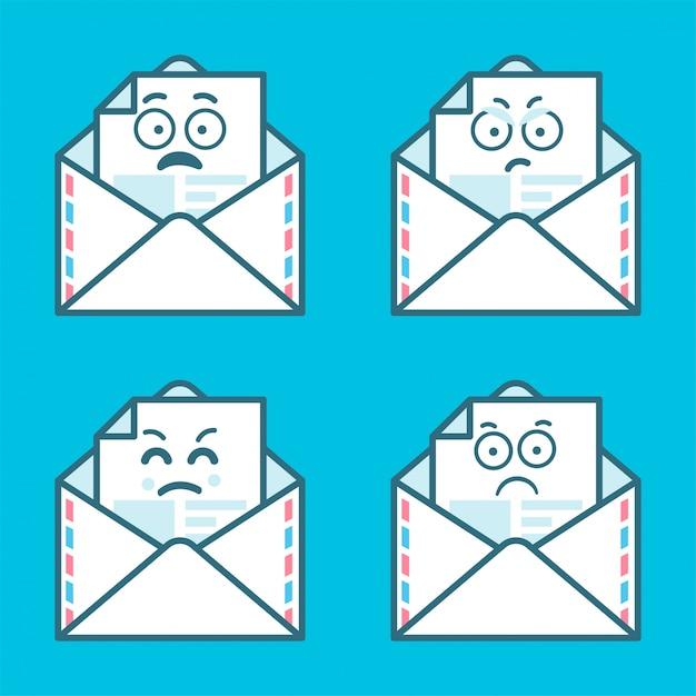 Conjunto de mensagens emoji em letras. conceito de sorriso zangado e triste. Vetor Premium