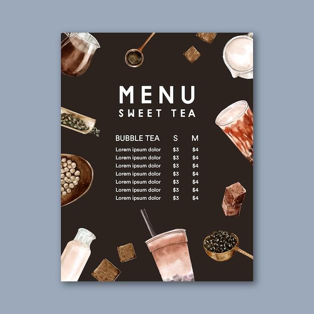 Conjunto de menu de chá de leite de bolha de açúcar mascavo, anúncio conteúdo vintage, ilustração de aquarela Vetor grátis