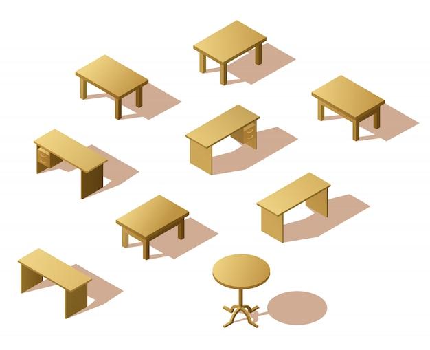 Conjunto de mesa de madeira isométrica Vetor Premium