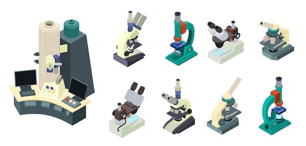 Conjunto de microscópio, estilo isométrico Vetor Premium
