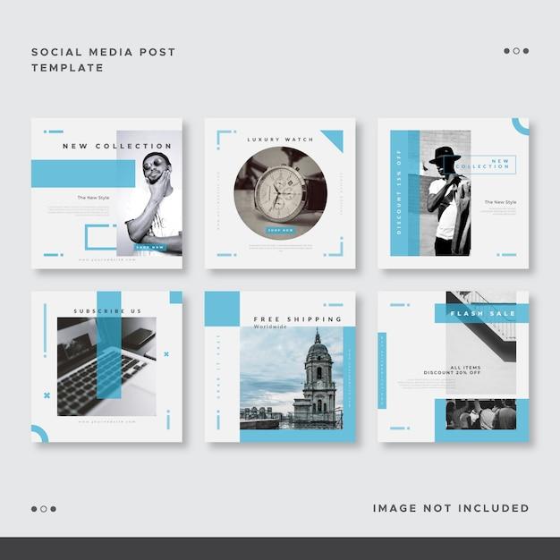 Conjunto de mídias sociais do oceano azul postar modelo Vetor Premium