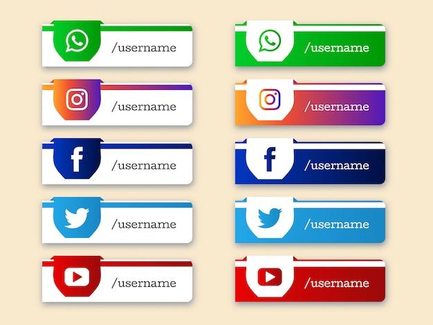 Conjunto de mídias sociais inferior terceiro ícones Vetor grátis