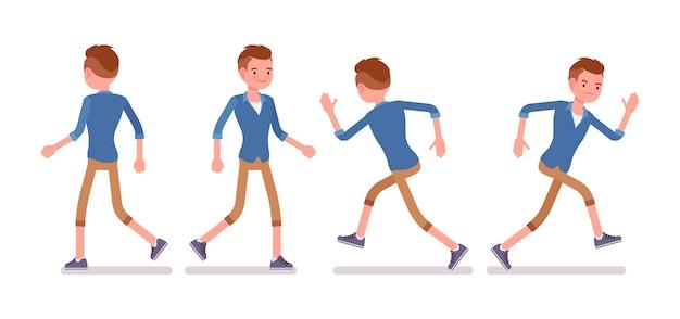 Conjunto de milenar masculino em pose de caminhada e corrida Vetor Premium