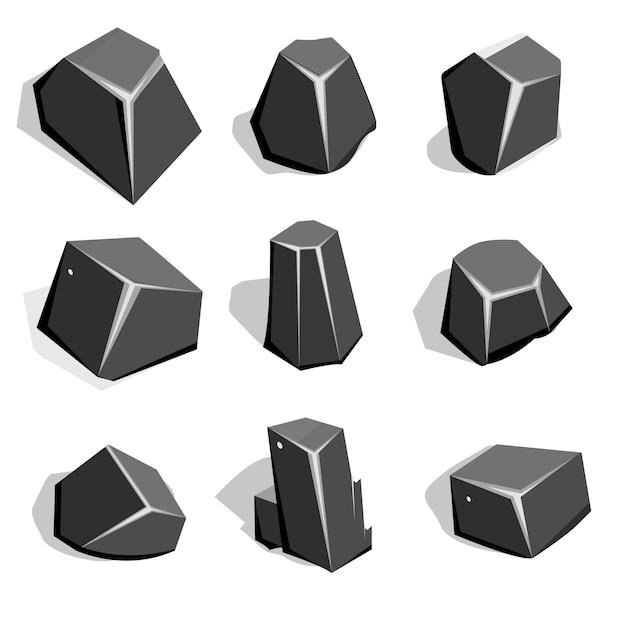 Conjunto de minério de carvão ou pedregulhos Vetor Premium