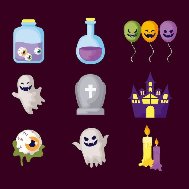 Conjunto de mistérios icos halloween Vetor Premium