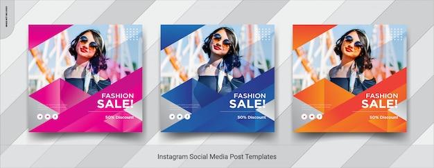 Conjunto de moda-insta post design de modelo de postagem de mídia social Vetor Premium