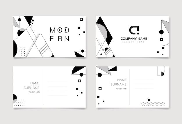 Conjunto de modelo abstrato preto e branco moderno Vetor grátis