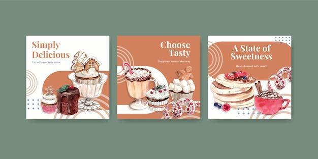 Conjunto de modelo de anúncio com doces de inverno em estilo aquarela Vetor grátis