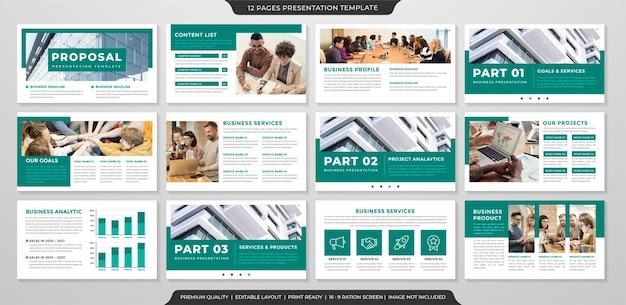Conjunto de modelo de apresentação de negócios estilo minimalista Vetor Premium